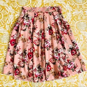 Haute Monde Pink Floral A-Line Full Midi Skirt M
